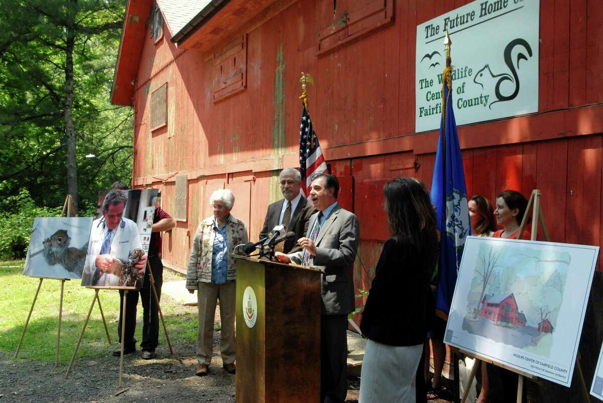 Mayor Michael Pavia announces the lease agreement between The City of Stamford (Conn.) and The Wildlife Center of Fairfield County for the Red Barn at Mianus River Park in Stamford on Monday June 11, 2012.