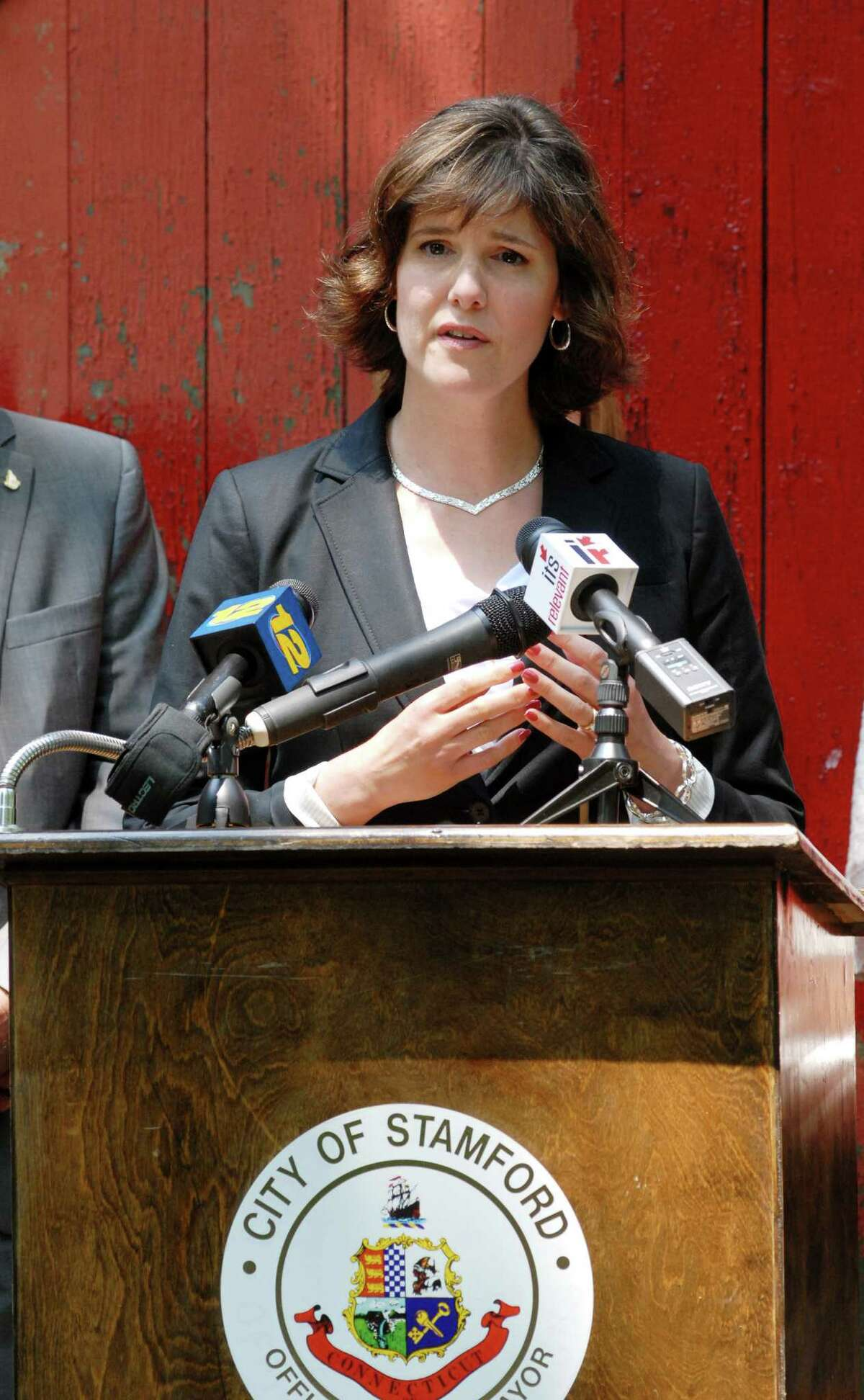 Heather Bernatchez, co-founder of The Wildlife Center of Fairfield County, annouces a lease agreement with the City of Stamford (Conn.) for the Red Barn at Mianus River Park in Stamford on Monday June 11, 2012.