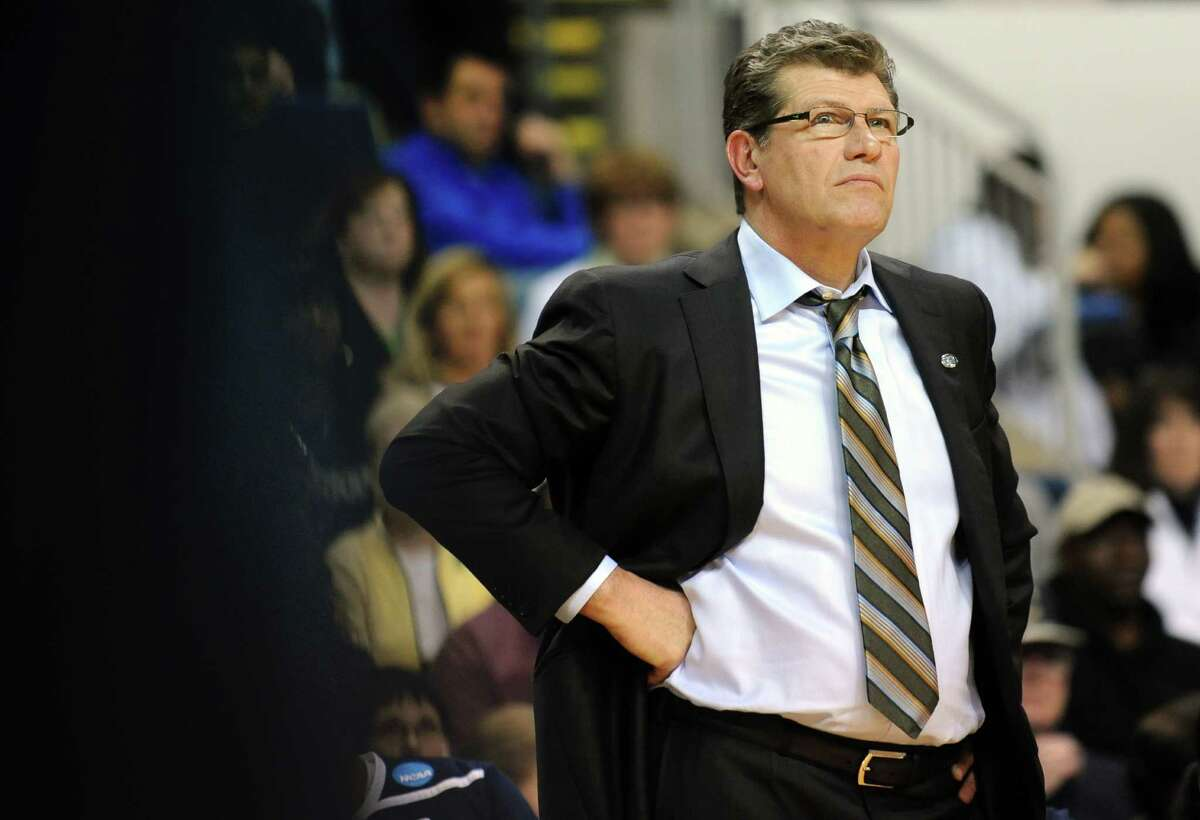 Connecticut head coach Geno Auriemma watches the action against Prairie View during the first-round NCAA tournament game at the Webster Bank Arena in Bridgeport, Conn. Saturday, Mar. 17, 2012.