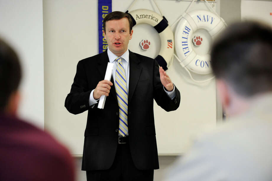 U.S. Rep. Chris Murphy speaks to students in the ROTC program at Bethel High School Monday, June 11, 2012. Photo: Carol Kaliff