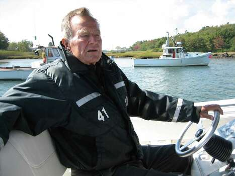 "Former President George H.W. Bush spends time on his boat in Kennebunkport, Maine, during the filming of the documentary ""41.""  Photo: HBO"