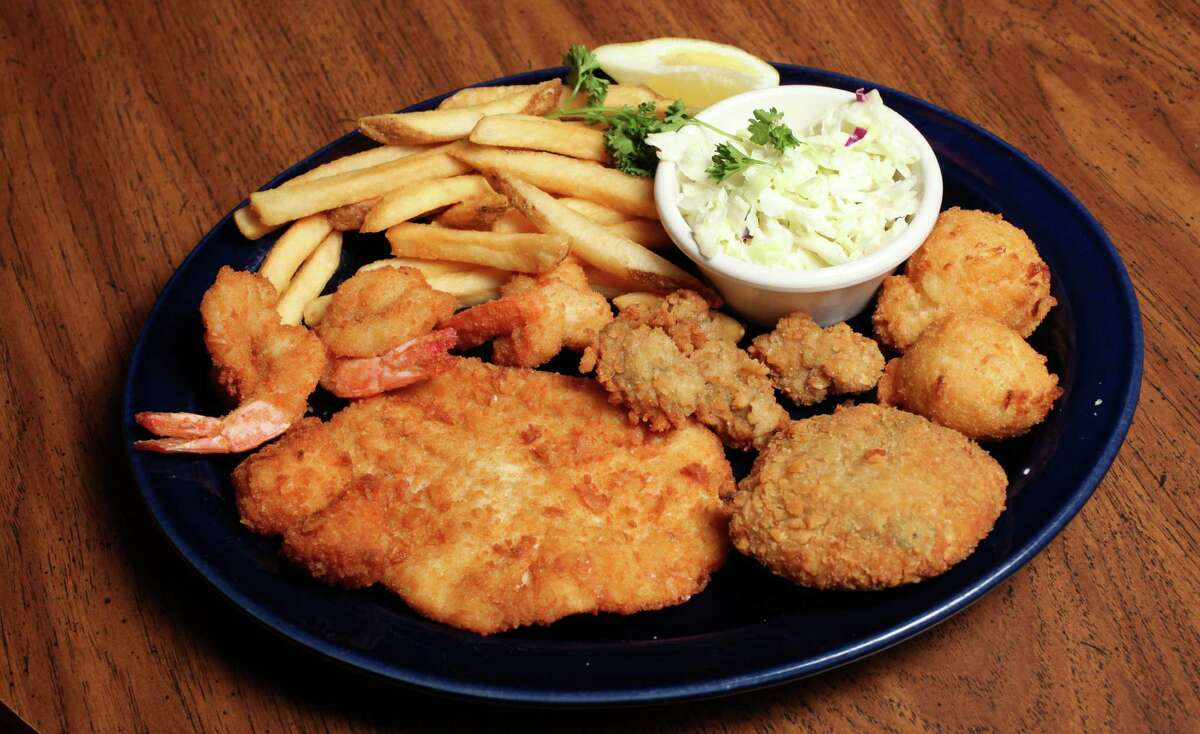 The seafood platter is one of the favorite menu items at Sea Island Shrimp House.