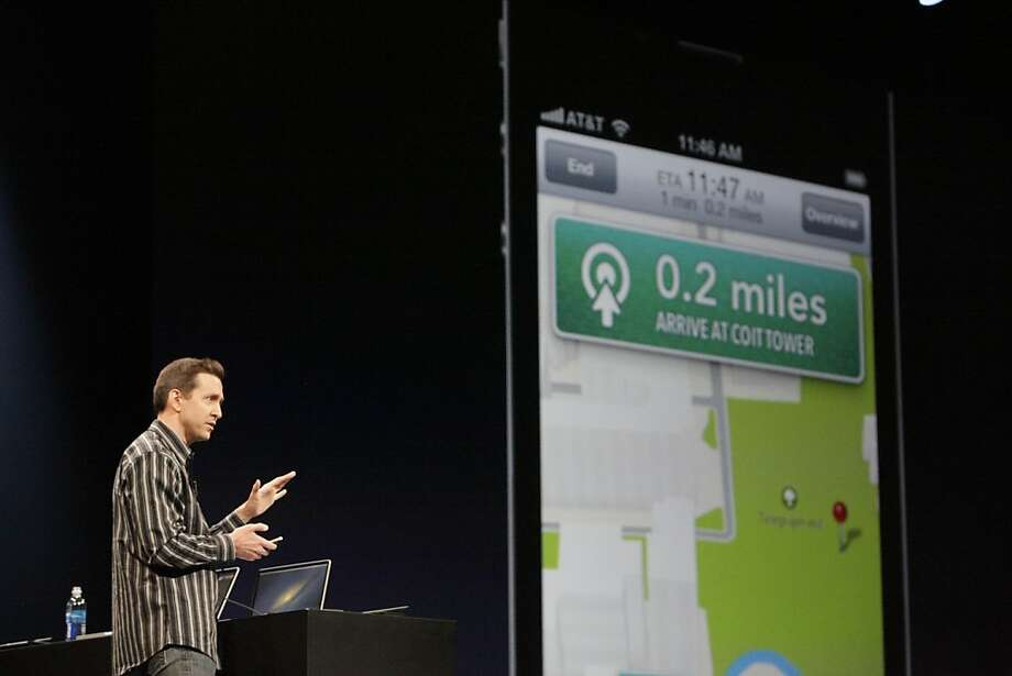 Apple exec Scott Forstall demos the new map application featured on iOS 6. The turn-by-turn application takes on Google's map app. Photo: Lea Suzuki, The Chronicle
