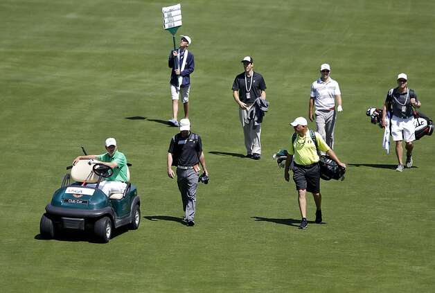 Casey Martin is allowed to use a cart to get around the course because of a disability, as he plays during the first day of practice rounds during the United States Open Championship at the Olympic Club in San Francisco, Ca., on Monday June 11, 2012. Photo: Michael Macor, The Chronicle