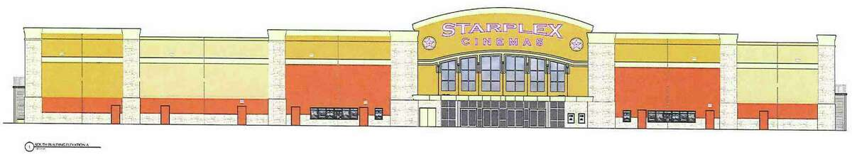 An architectural rendering shows how a proposed Starplex cinema complex at Old San Antonio and Cascade Caverns roads would appear. Boerne's Planning and Zoning Committee recently reviewed the plans.
