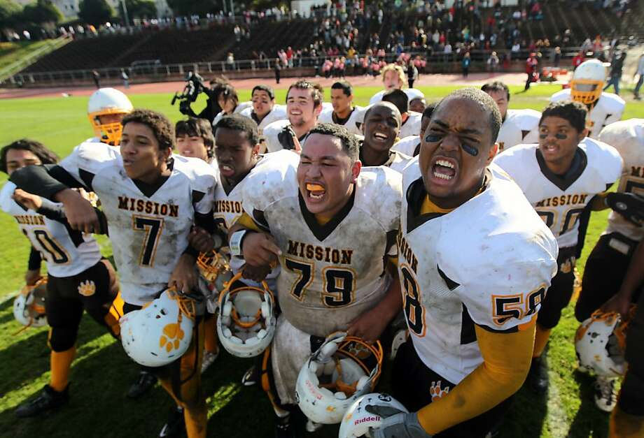 The Mission High School Bears celebrate their first Turkey Day Football Championship victory in over 57 years after beating Washington High 12-7 at Kezar Stadium in San Francisco Thursday November 24, 2011. Photo: Lance Iversen, The Chronicle