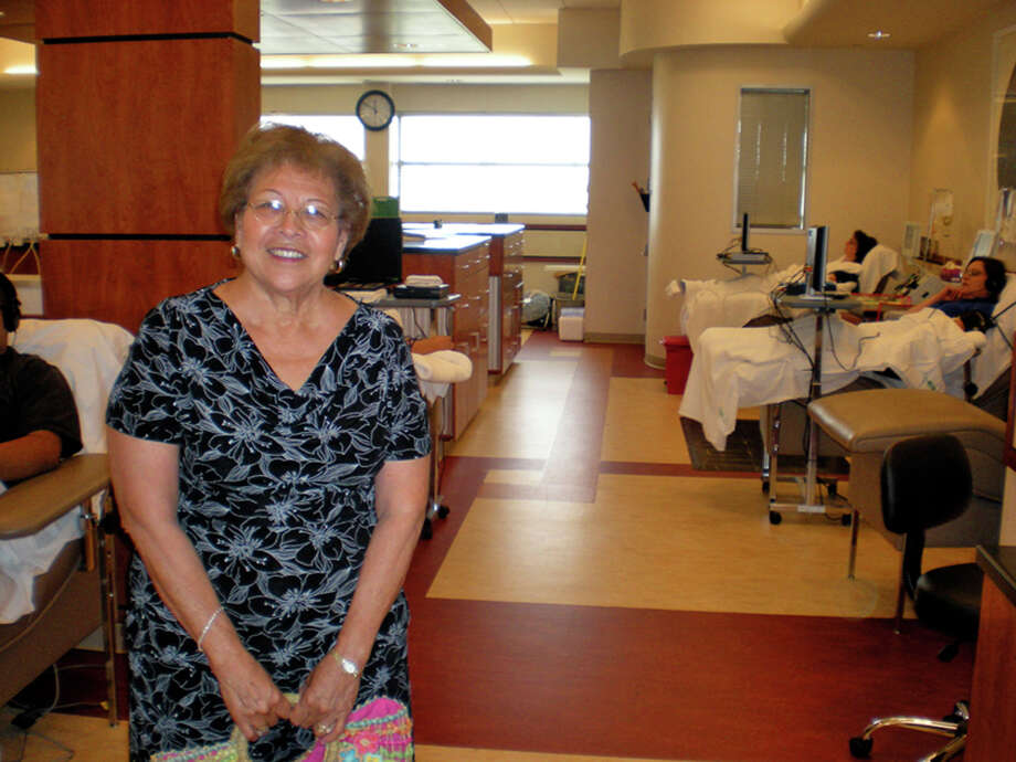 Maria Garcia, visiting donors, required blood transfusions virtually around the clock when she was hospitalized three years ago. Courtesy photo Photo: Courtesy