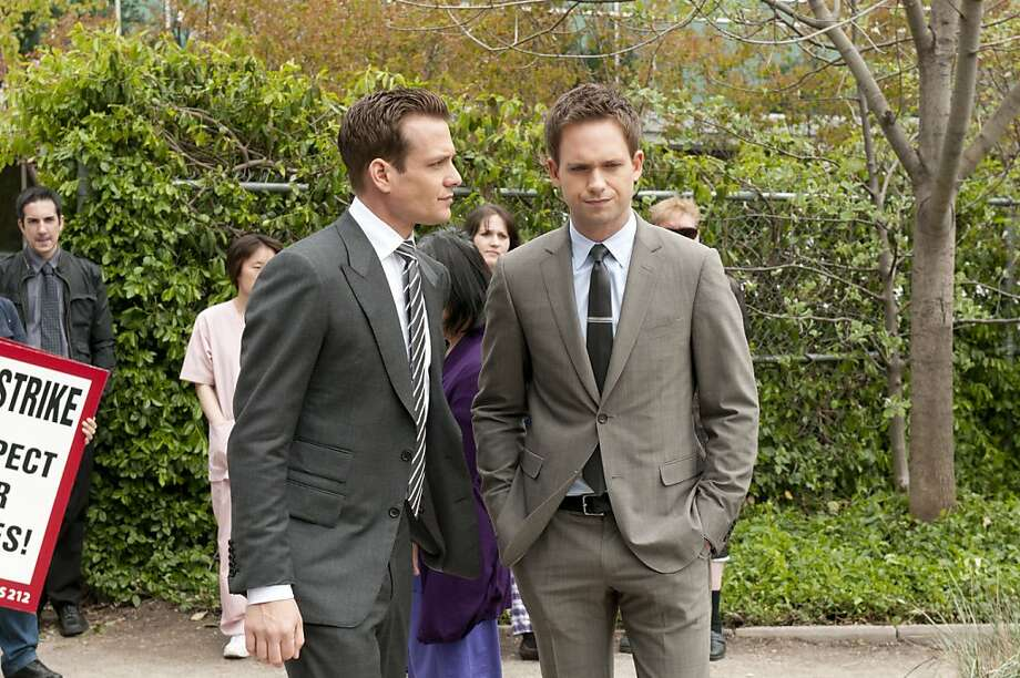 "SUITS -- ""Meet the New Boss"" Episode 203 -- Pictured: (l-r) Gabriel Macht as Harvey Specter, Patrick J. Adams as Mike Ross Photo: Christos Kalohoridis, USA Network"
