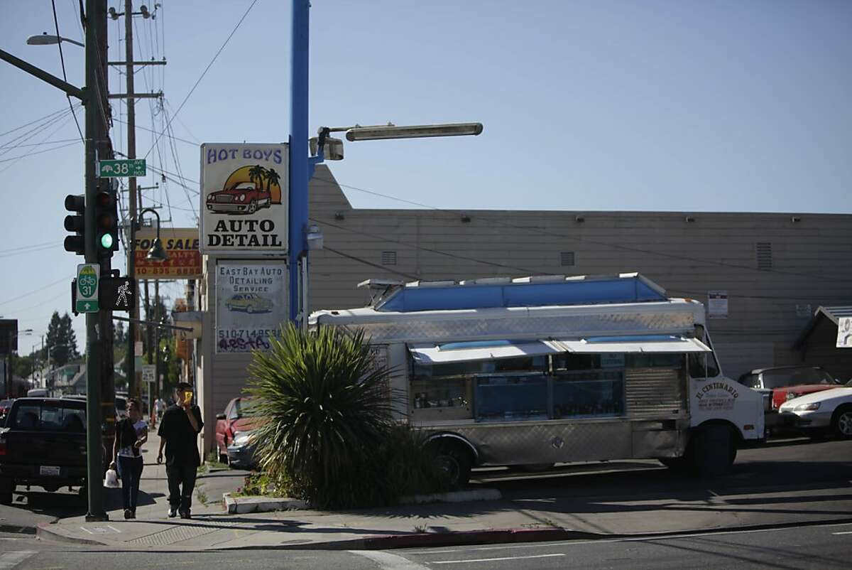 Pedestrians walk on Foothill Boulevard between Harrington Avenue and 38th Avenue on Monday, June 11, 2012 in San Francisco, Calif.