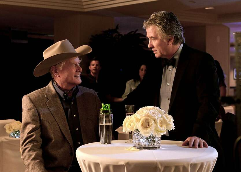 Larry Hagman as J.R. Ewing (left) and Patrick Duffy as Bobby Ewing in a scene from
