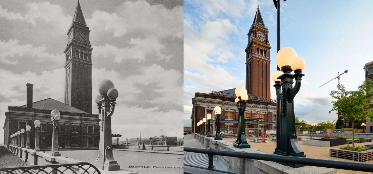 These photos show a side-by-side comparison of the new lamp posts outside King Street Station with the originals.