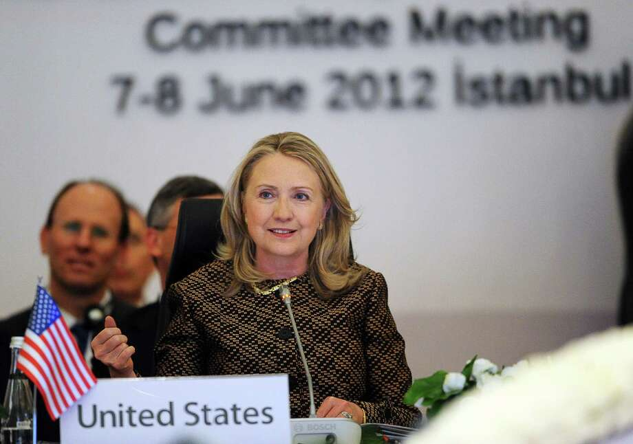 "US Secretary of State Hillary Clinton speaks during the Global Counterterrorism Forum, Ministeral Level Plenary and 2nd Coordinating Committee Meeting, at the Conrad Hotel in Istanbul on June 7, 2012. Al-Qaeda is still a serious and imminent threat as it is spreading geographically, US Secretary of State Hillary Clinton said today. ""The threat has spread, becoming more geographically diverse,"" Clinton said ahead of a counterterrorism meeting.  AFP PHOTO / BULENT KILICBULENT KILIC/AFP/GettyImages Photo: BULENT KILIC / AFP"