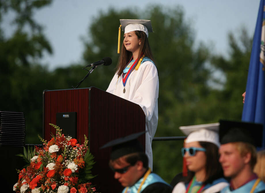 Senior Class Essayist Rebecca Ercolani. Shelton High School graduation exercises in Shelton on Monday, June 11, 2012. Photo: Brian A. Pounds / Connecticut Post