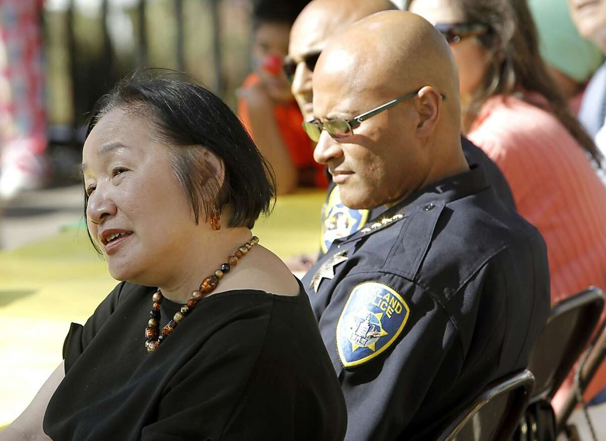 Mayor Jean Quan and Oakland police chief Howard Jordan, joined parents and students for a rally at Manzanita School, before taking to the streets for the Manzanita Community Peace Walk through the neighborhood near E. 27th Street and Fruitvale, in Oakland, Ca., on Wednesday May 9, 2012.