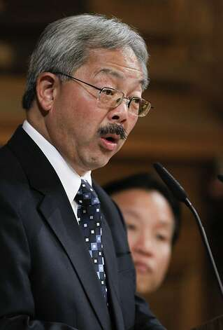 San Francisco Mayor Ed Lee, (center) presents his proposed budget for Fiscal years 2012-2013 and 2013-2014, in the Board of Supervisors chambers on Thursday May 31, 2012, in San Francisco, Ca. Photo: Michael Macor, The Chronicle