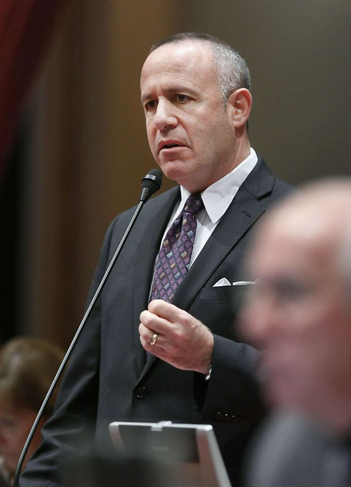 State Senate President Pro Tem Darrell Steinberg, D-Sacramento, urged lawmakers to approve his school testing bill at the Senate in Sacramento, Calif., Tuesday, May 29, 2012. The bill, SB1458, which makes schools less reliant on student testing, was approved by a 24-10 vote and sent to the Assembly. A similar bill by Steinberg was vetoed by Gov. Jerry Brown last year. (AP Photo/Rich Pedroncelli)