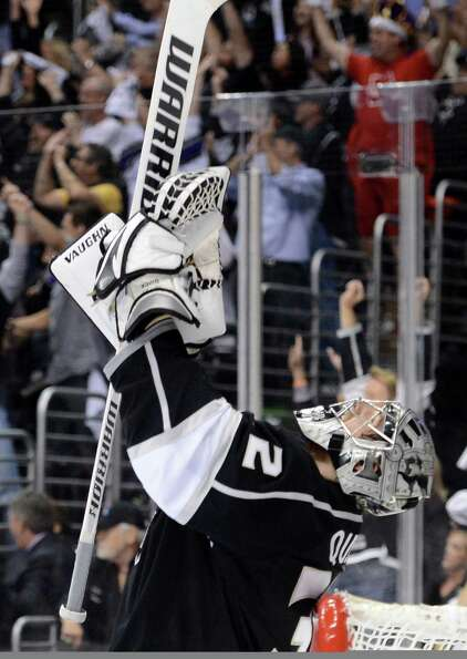 Goaltender Jonathan Quick won the Conn Smythe Trophy for playoff MVP. (AP)