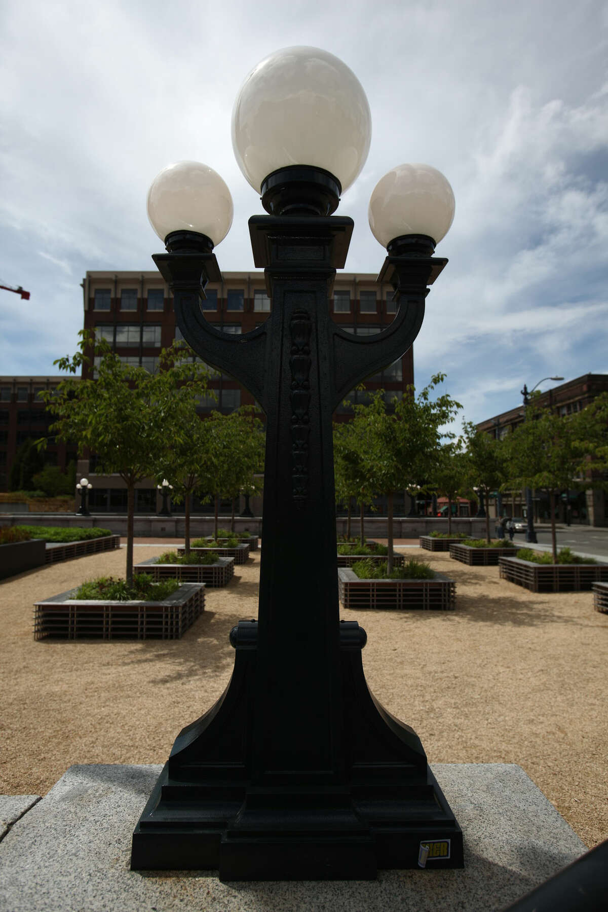A new lamp post outside Seattle's King Street Station. The nickname? City workers call them