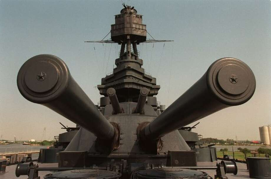 The Battleship Texas, permanently docked near the San Jacinto Monument, in 1998. (Paul S. Howell / Houston Chronicle)