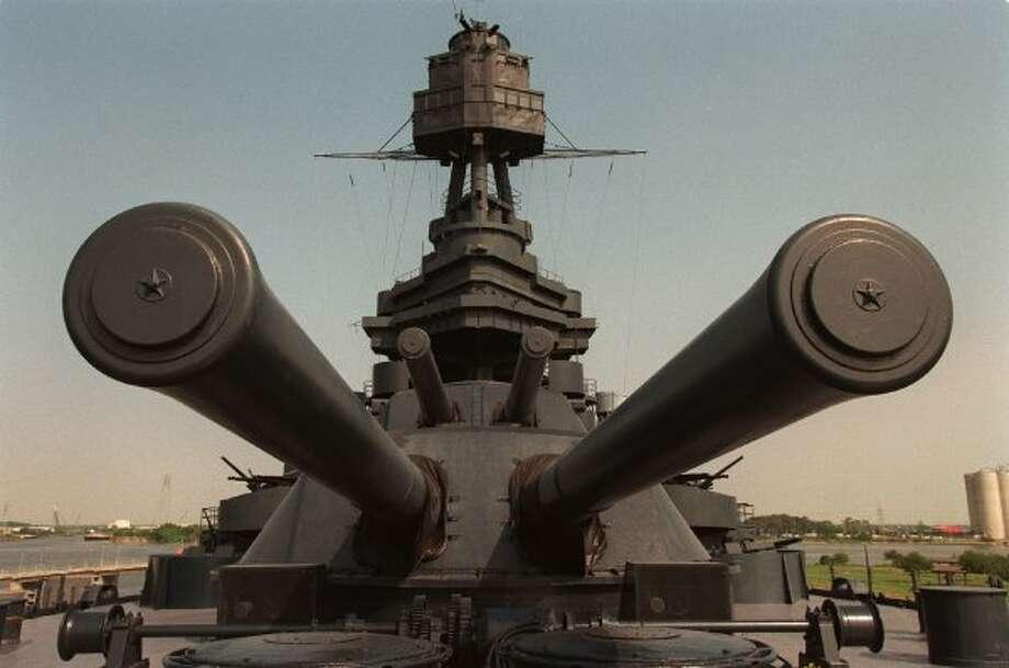 The Battleship Texas, permanently docked near the San Jacinto Monument, in 1998. (Paul S. Howell / Houston Chronicle)