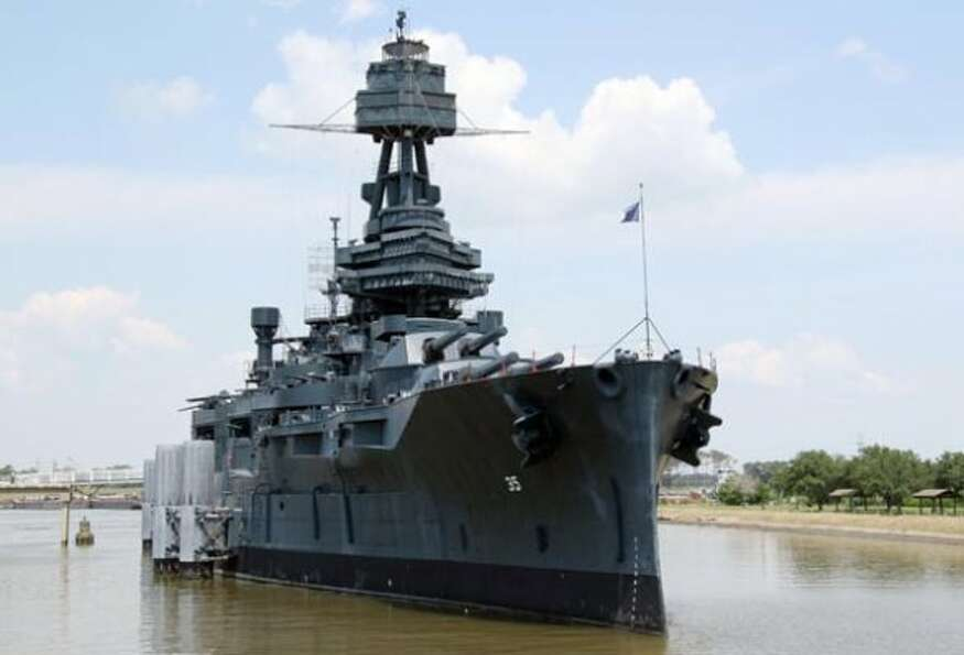 This May 14, 2012, photo shows the Battleship Texas in its berth along the Houston Ship Channel in L