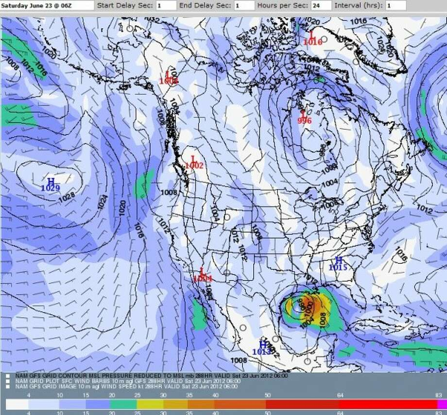 The GFS model shows a fairly strong storm off the Texas coast on June 23. (IPS MetoStar) Photo: IPS MetoStar