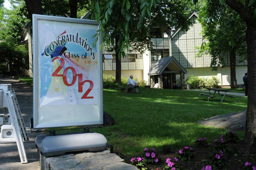 A poster at the Eagle Hill School graduation Sunday, June 10, 2012. Eagle Hill School is a boarding and day school in Greenwich for children with learning disabilities.