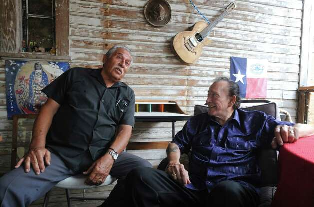 Legendary musicians Flaco Jimenez, right, and Fred Ojeda have reunited under the name they recorded under decades ago - Los Caporales. Photo: Billy Calzada, Staff / © 2012 San Antonio Express-News