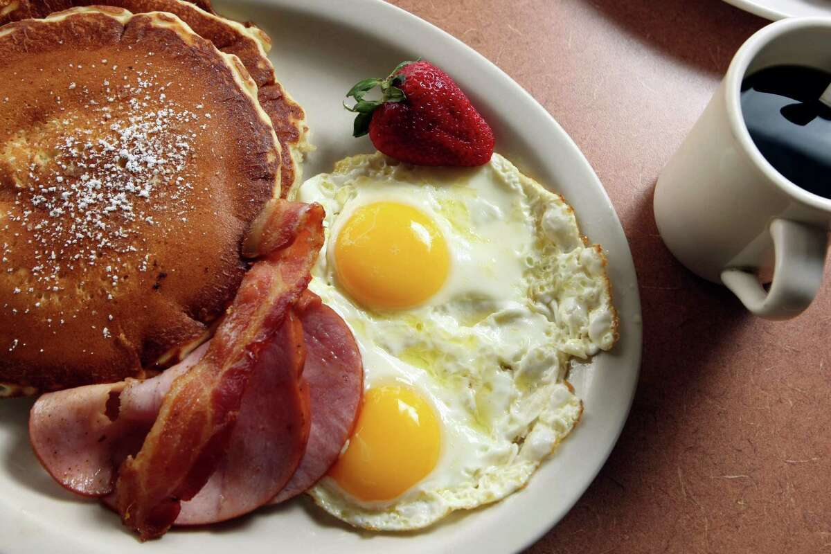 The pancakes and eggs plate is a favorite at the Koffee Kup Pancake House. The restaurant is the Critics' Choice pick for best breakfast.