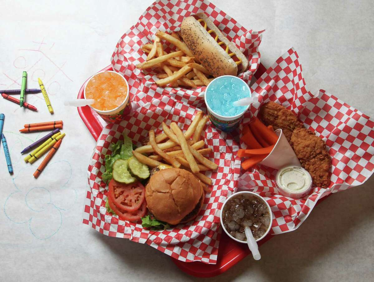 Kids meals at Big'z Burger Joint include burgers, chicken strips and hot dogs with sides and beverages.