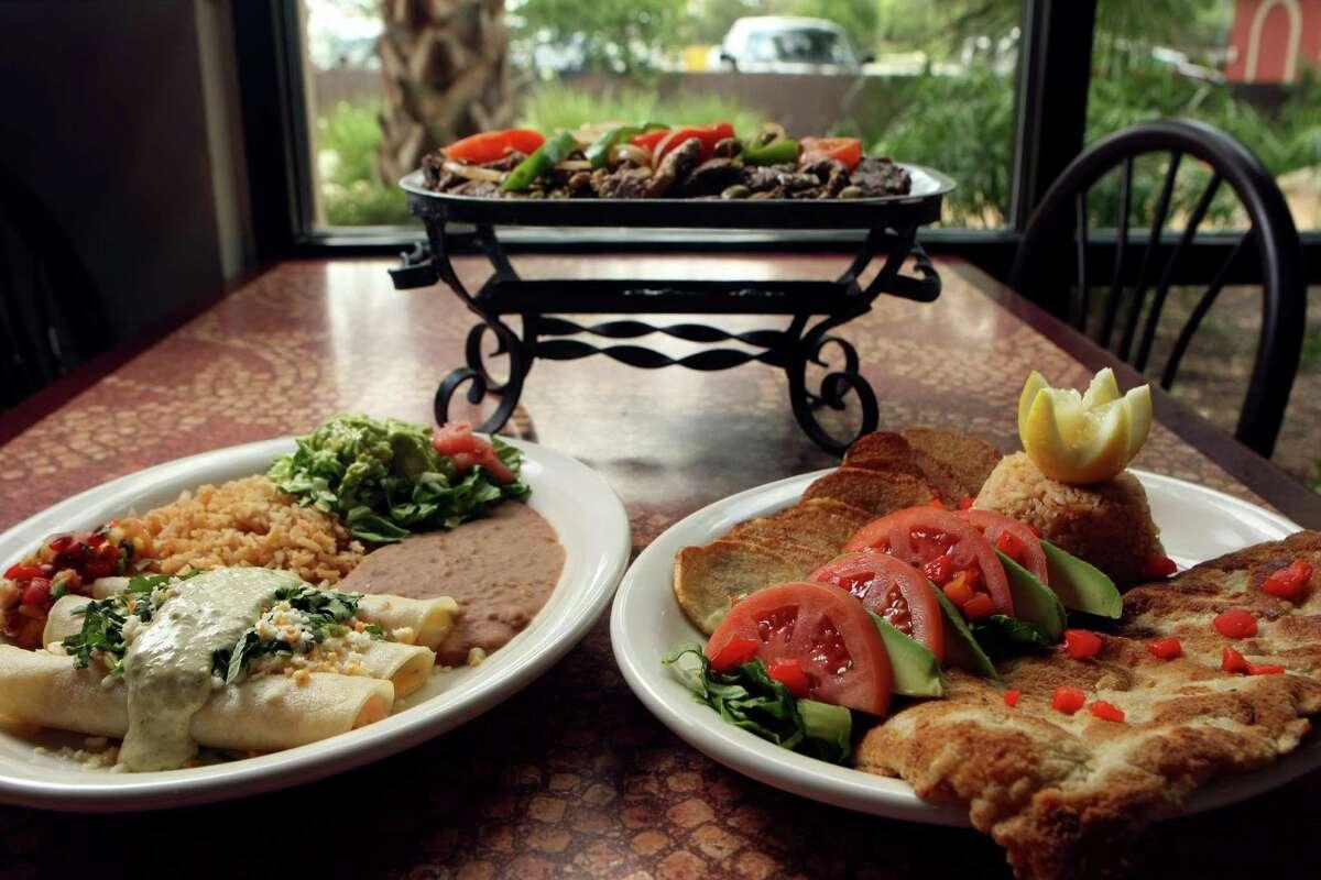 Enchiladas de camarones, el mofofo grill and milanesa con papas from La Hacienda de los Barrios, voted best outdoor dining.