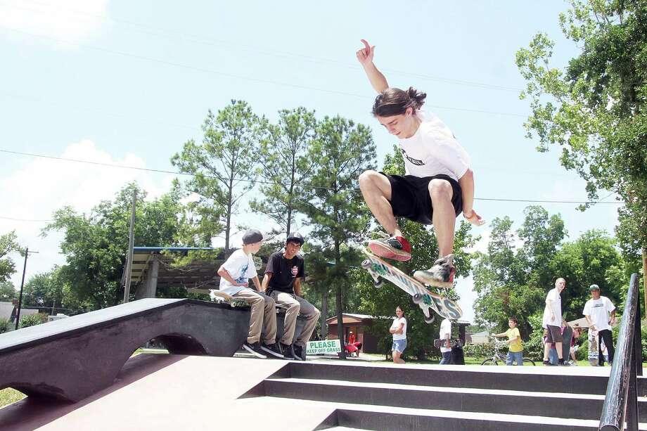 Nathan DeShaun enjoys the new Alvin Skate Park. Photo: Pin Lim / Copyright Pin Lim.