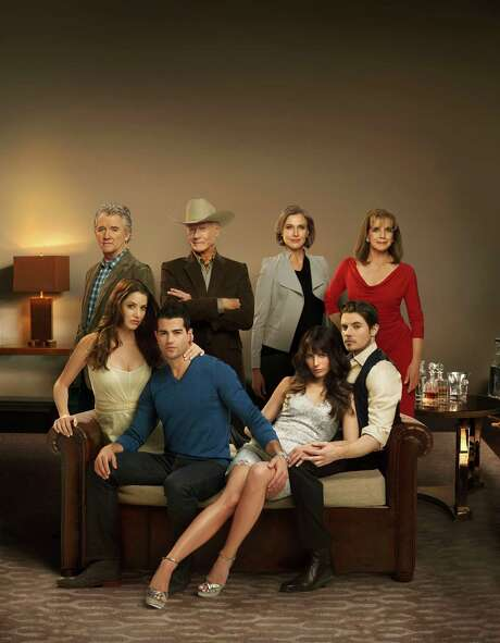 """The cast of TNT's new """"Dallas"""" includes, front row from left to right, Julie Gonzalo, Jesse Metcalfe, Jordana Brewster and Josh Henderson and, back row from left to right, Patrick Duffy, Larry Hagman, Brenda Strong and Linda Gray. Photo: TNT"""