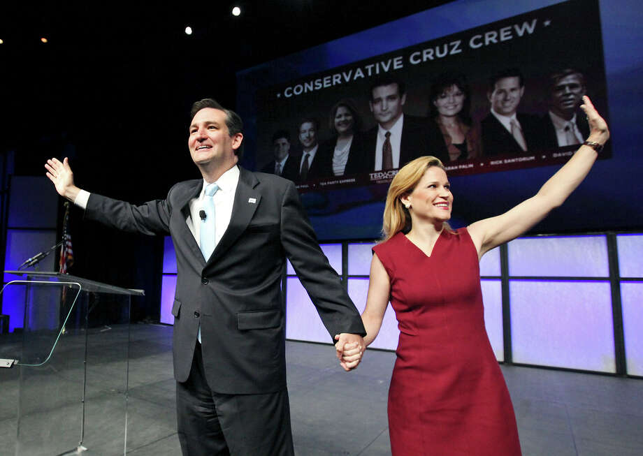 U.S. Senate hopeful Ted Cruz, with wife Heidi at the state GOP Convention in Fort Worth last week, has raised 35 percent of his campaign funds from outside Texas. Photo: Edward A. Ornelas, San Antonio Express-News / © 2012 San Antonio Express-News