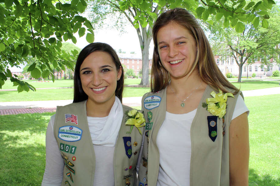 Victoria Jardon and Kira Schott, both of New Canaan, earned their Girl Scout Gold Award, the highest award available in Girl Scouting. June 15, 2012, New Canaan, Conn. Photo: Contributed Photo