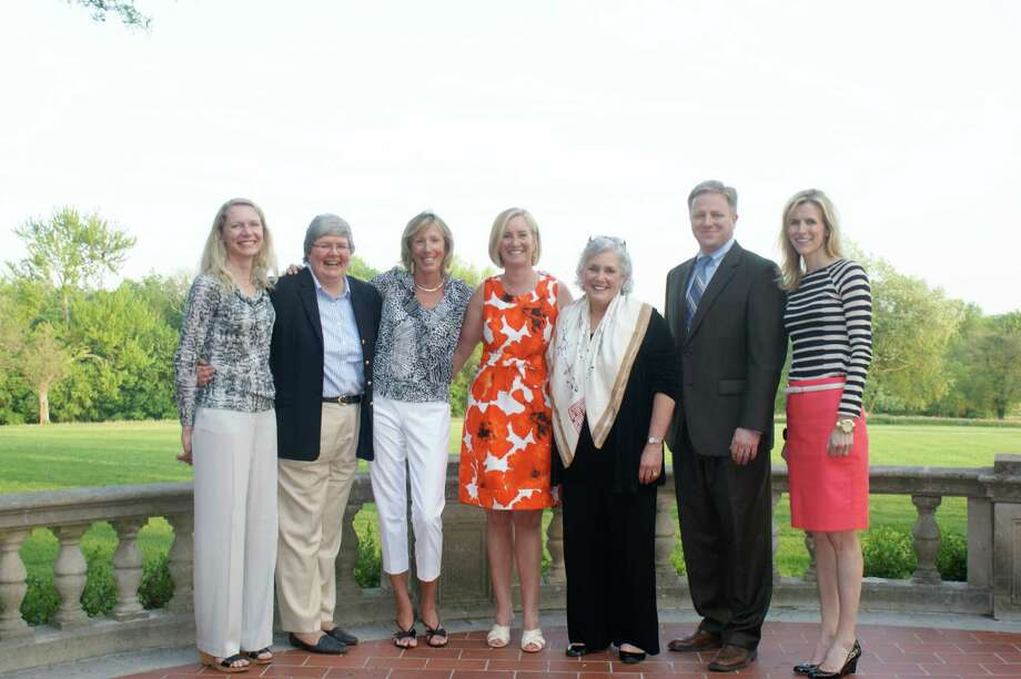 From left, Eileen Boyd, YWL first vice president; Jane Ferreira, CEO Mercy Learning Center; Cate Breslin, YWL charity research chairman; Amy Burger, YWL president; Ceci Maher, executive director Person To Person; Tom Lang, vice president of marketing for The Workplace; Kristin Thomas, YWL vice president, community concerns. June 15, 2012, New Canaan, Conn. Photo: Contributed Photo
