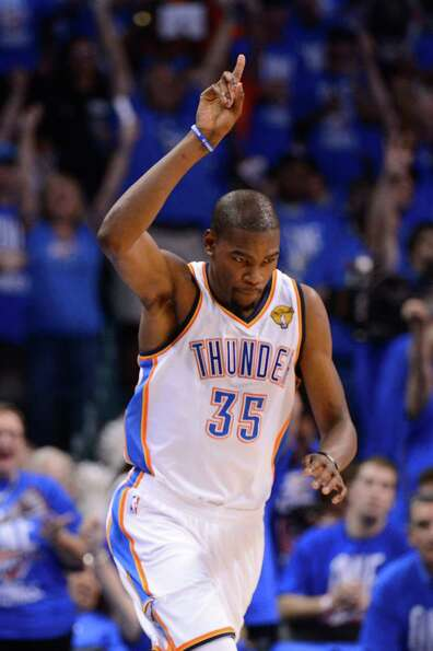 OKLAHOMA CITY, OK - JUNE 12:  Kevin Durant #35 of the Oklahoma City Thunder reacts after making a sh