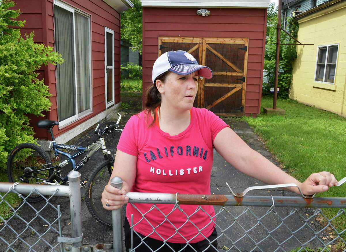 Colleen Bushnell, a military veteran suffering from PTSD, at her Lansingburgh home Wednesday May 30, 2012. She will join a small team of cyclists traveling across America to draw attention to problems facing Iraq and Afghanistan Veterans. (John Carl D'Annibale / Times Union)