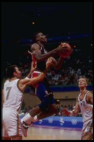 Center David Robinson of the United States goes up for two during a game against Germany at the Olympic Games in Barcelona, Spain, 29 July 1992. Mike Powell  / Allsport (Mike Powell / Getty Images)