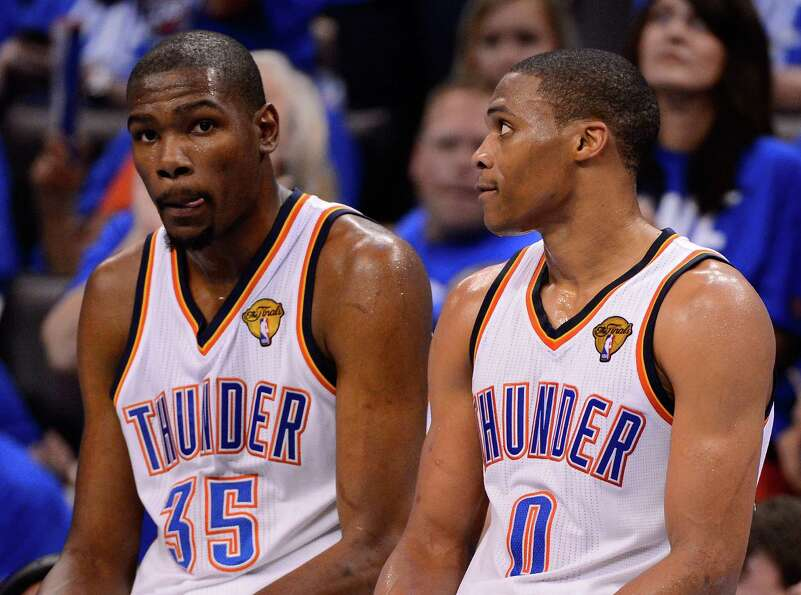 OKLAHOMA CITY, OK - JUNE 12:  Kevin Durant #35 and Russell Westbrook #0 of the Oklahoma City Thunder