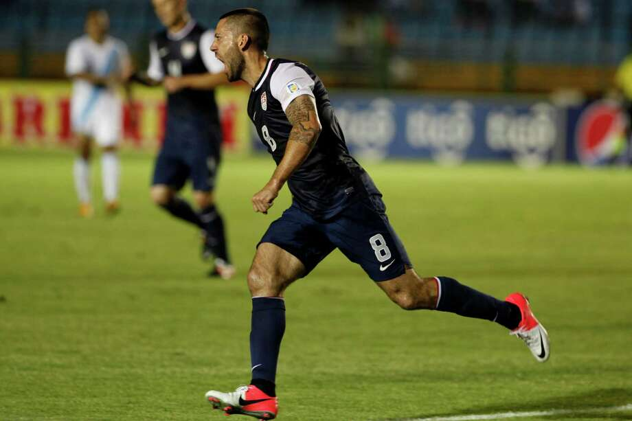United States' Clint Dempsey celebrates after scoring against Guatemala. Photo: Moises Castillo, Associated Press / AP