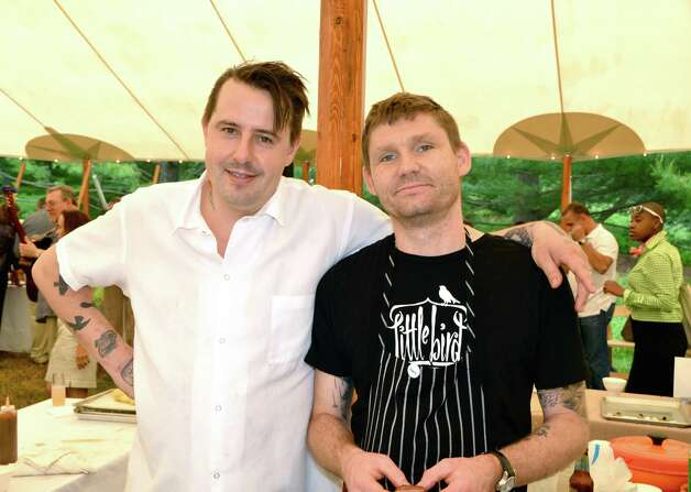 Chef Gabriel Rucker from Le Pigeon in Portland, Oregon, with Chef Erik Van Kley, chef of his sister restaurant, Little Bird Bistro, also in Portland.  Both delighted guests with their specialties at the Glass House Dine with Design event last Saturday afternoon, June 9, 2012 in New Canaan, Conn. Photo: Jeanna Petersen Shepard
