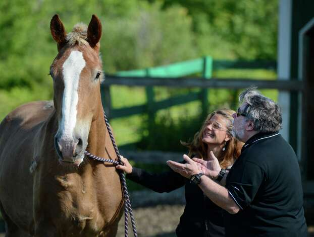 "Nanci Beyerl, left Founder and Executive Director of Peaceful Acres shows Steve Wozniak, co-founder of Apple Computer  ""Woz"" a horse was named for him that was rescued from a kill pen and now resides on the Peaceful Acres Horses Inc. in Patersonville, N.Y. June, 13, 2012.  Peaceful Acres Horses Inc. is a farm that rescues horses of all breeds and rehabilitates them with the aid of donations and volunteers.  They also incorporate human rehabilitation with animals as part of their mission.    (Skip Dickstein / Times Union) Photo: SKIP DICKSTEIN / 00018075A"