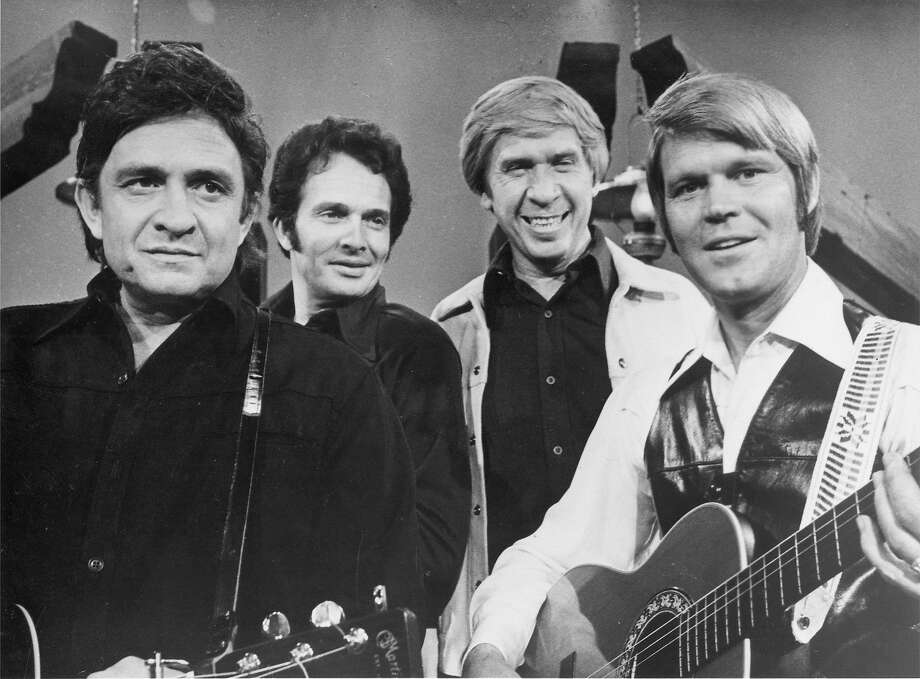 Johnny Cash, Merle Haggard, Buck Owens and Glen Campbell on The Glen Campbell Goodtime Hour.