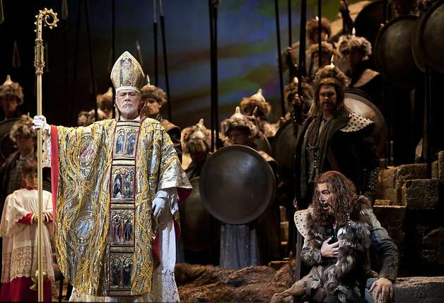 "Lone (Pope Leo I), played by Samuel Ramey, stands before a weeping Attila, played by Ferruccio Furlanetto, during the Attila performance at War Memorial Opera House. San Francisco's Opera season continues with ""Attila,"" an opera based on the play Attila, Koing der Hunnen by Zarcharias Werner. Attia plays at the War Memorial Opera House and is directed by Gabriele Lavia and conducted by Nicola Luisotti. Photo: Kevin Johnson, The Chronicle"