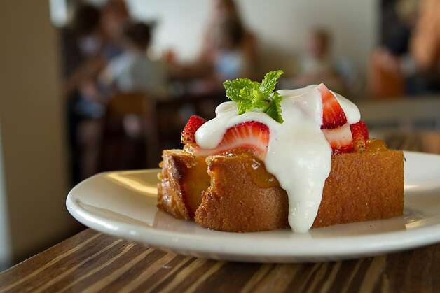 The Lemon Pound Cake with Greek Yogurt & fruit at Lyfe restaurant in Palo Alto, Calif., is seen on Saturday, June 9th, 2012. Photo: John Storey, Special To The Chronicle