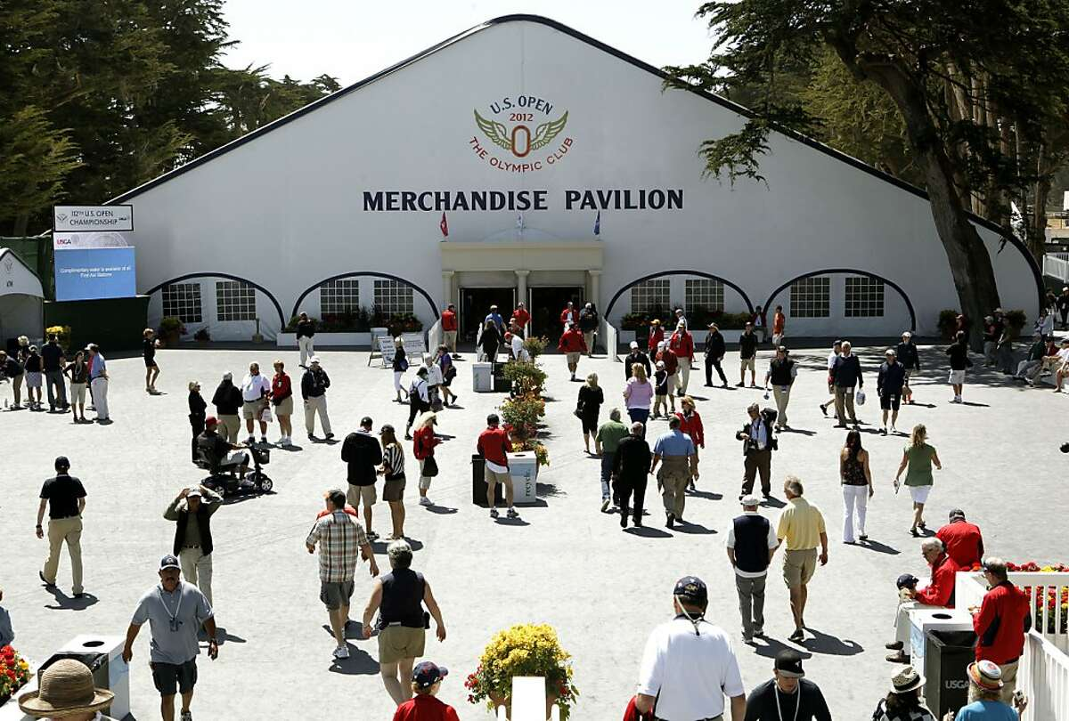 The Merchandise Pavilion, at the Olympic Club in San Francisco, Ca., on Tuesday June 12, 2012. Officials at the U.S. Open expect to sell $15 million worth of clothing and trinkets from the 36,000-square-foot Pavilion during the United States Open Championship.