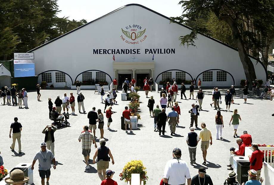 The Merchandise Pavilion, at the Olympic Club in San Francisco, Ca., on Tuesday June 12, 2012.  Officials at the U.S. Open expect to sell $15 million worth of clothing and trinkets from the 36,000-square-foot  Pavilion during the United States Open Championship. Photo: Michael Macor, The Chronicle