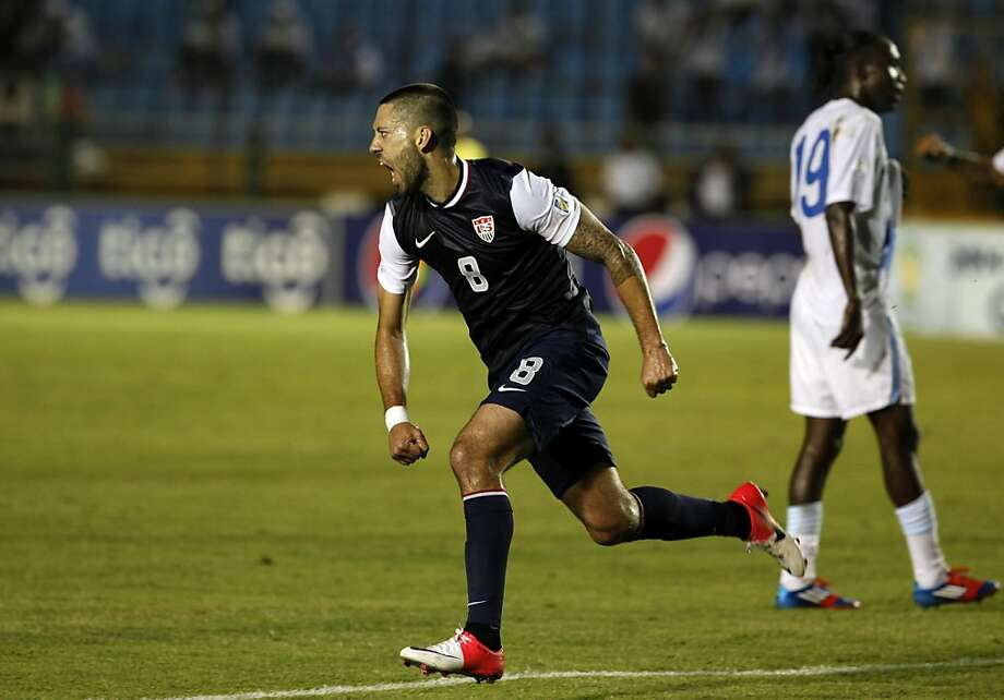 United States Clint Dempsey celebrates after scoring against Guatemala during a 2014 World Cup qualifying soccer match in Guatemala City Tuesday, June 12, 2012. (AP Photo/Moises Castillo) Photo: Moises Castillo, Associated Press