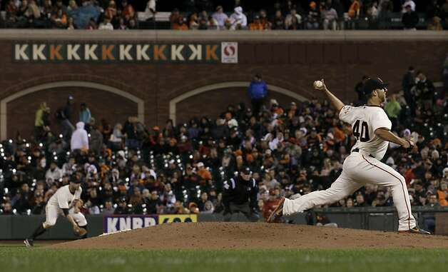 San Francisco Giants pitcher Madison Bumgarner (40) delivers against the Houston Astros during the eighth inning of a baseball game in San Francisco, Tuesday, June 12, 2012. (AP Photo/Jeff Chiu) Photo: Jeff Chiu, Associated Press
